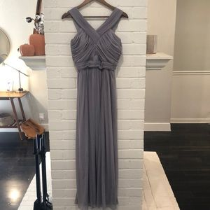 Grey floor length bridesmaid dress